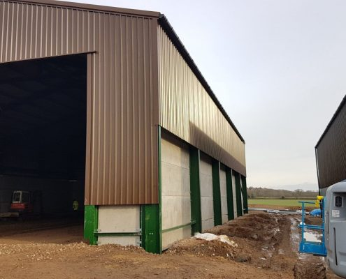 Grain Store with concrete grain wall panels & plastic-coated cladding